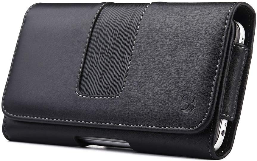 Luxmo Executive Holster for AT&T Radiant Max (Horizontal PU Leather Phone Carrying Pouch Case Belt Holster Clip with Magnetic Closure) - Black