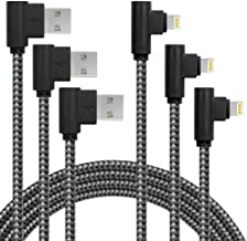 3 Pack 6FT Extra Long Fast Charger Cable 90 Degree Nylon Braided iPhone USB Charging & Syncing Cord Compatible with iPhone Xs Max/XS/XR/X, 8 7 6 6S 6 Plus, iPad, iPod (6ft, Black Gray)