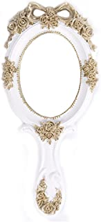 Nerien Vintage Style Rose Hand Held Mirror Princess Oval Vanity Mirror White