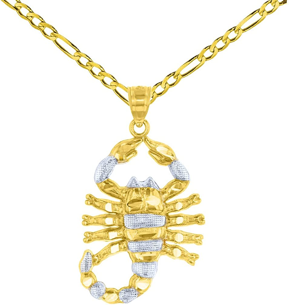 Solid 14K Yellow Gold Textured Scorpion Charm Scorpio Zodiac Pendant with Figaro Chain Necklace