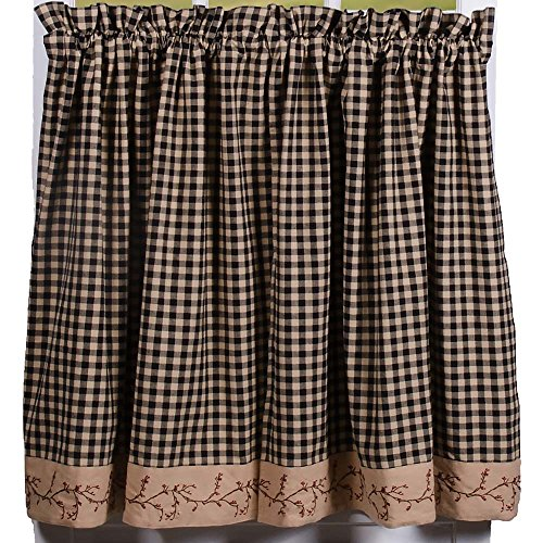 """Primitive Home Decors Berry Vine Check Black and Nutmeg 72"""" x 36"""" Lined Cotton Curtain Tiers"""