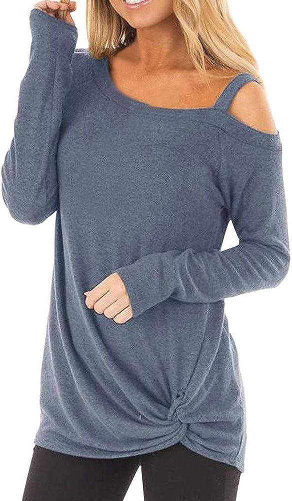 Camiseta Manga Larga de Mujer Elegante Moda Blusa Hombro sin Tirantes Color sólido Camisa Basica Camiseta Otoño Tops Casual Fiesta T-Shirt Original Chaqueta vpass