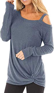 Wintialy Womens Casual Soft Long Sleeves O Neck Knot Side Twist Blouse Top T-Shirt
