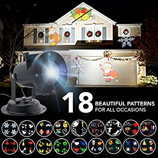 Christmas Projector Lights - 18 Beautiful Rotating Patterns for Christmas, Halloween, Easter, Birthdays, Parties, Football, Rugby - Indoor, Outdoor, Garden, Stage - Waterproof - Includes Both UK EU Plugs