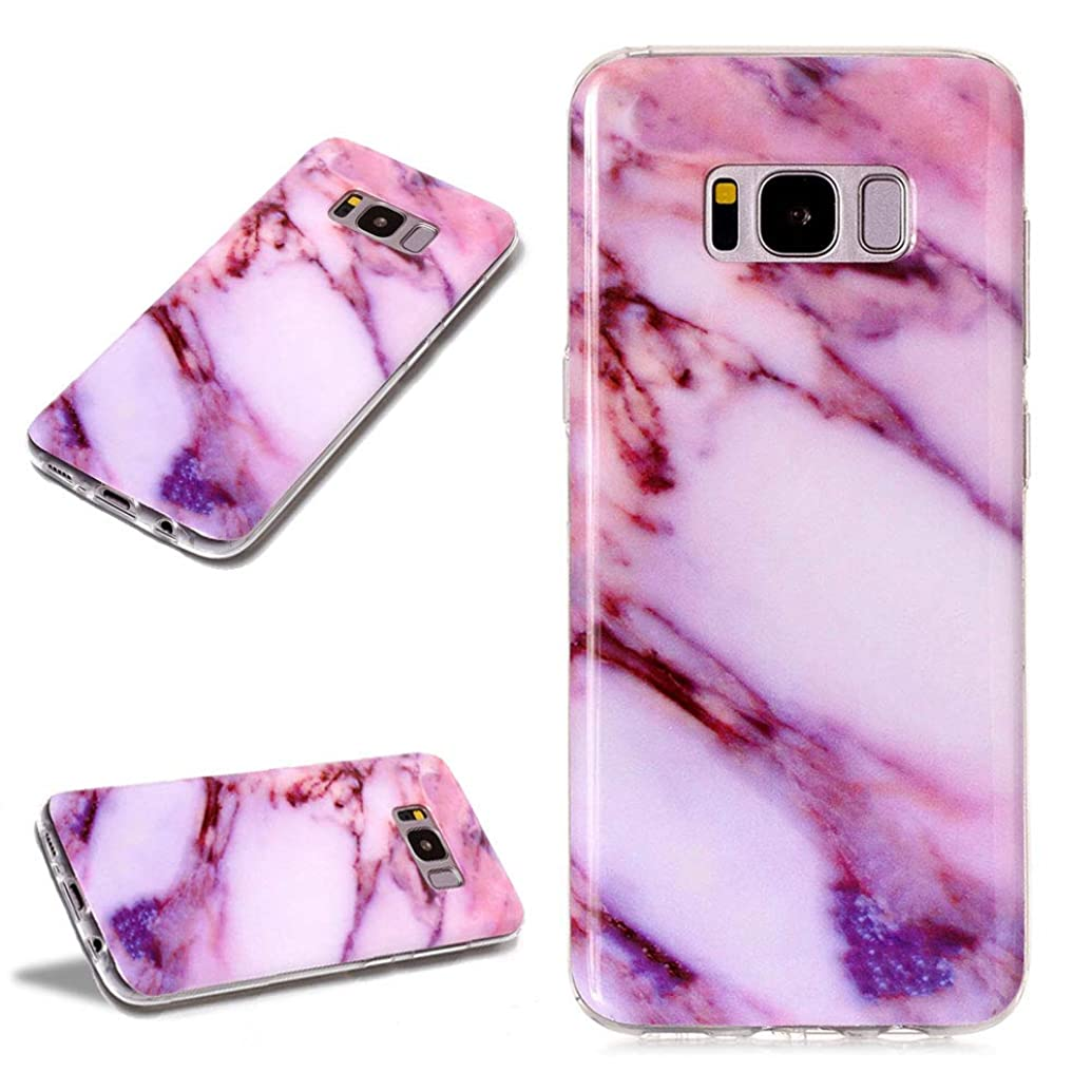 LCHDA Samsung Galaxy S8 Purple Red Texture Marble Design Case Protective for Girls Shockproof Soft Silicone Rubber TPU Bumper Phone Case with Screen Protector for Samsung Galaxy S8
