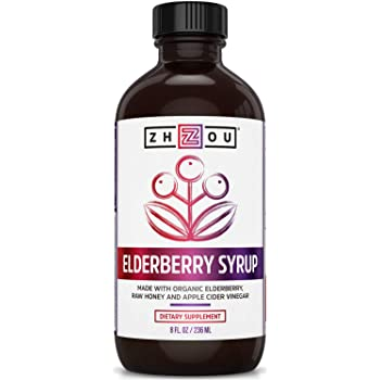 Zhou Nutrition Elderberry Syrup - Organic Sambus Black Elderberry, Raw Honey, Apple Cider Vinegar & Propolis - Immune System Booster During Cold Winter Months
