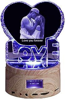Lámpara Personalizada con Foto 3d Foto Personalizada Luz Nocturna Luz de Noche de Cristal Bluetooth de Música para Cumpleaños,San Valentín, Año Nuevo, Aniversario, Día de la Madre, Navidad