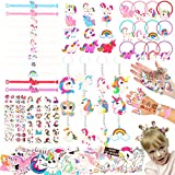 Moncinday 133Pcs Unicorn party favors, Unicorn party supplies for kids, Unicorn Theme Birthday party decoration party favors Pack with Unicorn bracelet, unicorn hair rings, unicorn Key chains, Stickers, Unicorn Tattoos for Unicorn goodies bag Fillers Carnival Prizes, Pinata Filler