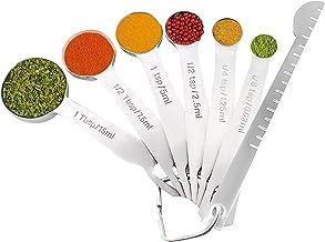 Zware roestvrijstalen metalen maatlepels voor droog of vloeibaar, past in kruidenpotje, set van 6 met bonusnivelleerder