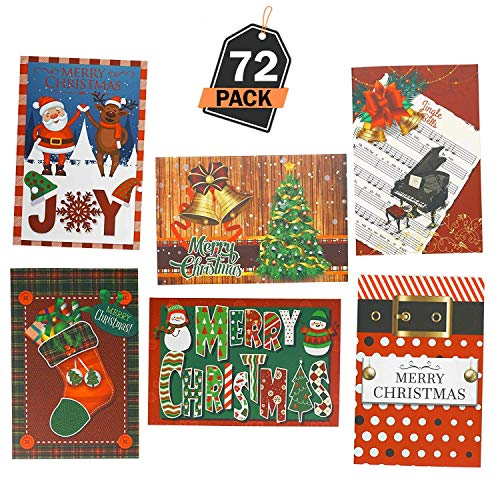 Set di 72 Cartoline di Auguri di Natale per le Festività per uso Aziendale e Personale