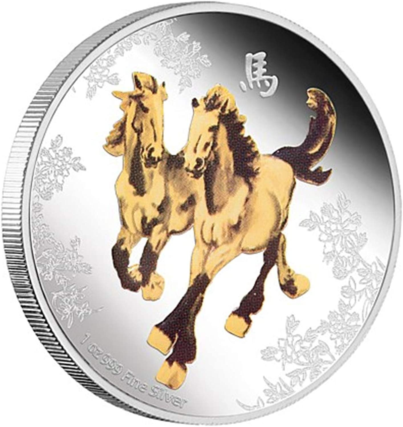 2014 Nation of Niue Feng Shui Proof Silver Horses, color Reverse, 1 Troy Oz (31.1g) 999 Pure Silver. 5000 Minted.