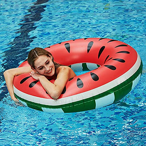 NSR - Salvagente motivo anguria, ciambella da nuoto, salvagente estivo, per piscina, gonfiabile, per adulti e bambini