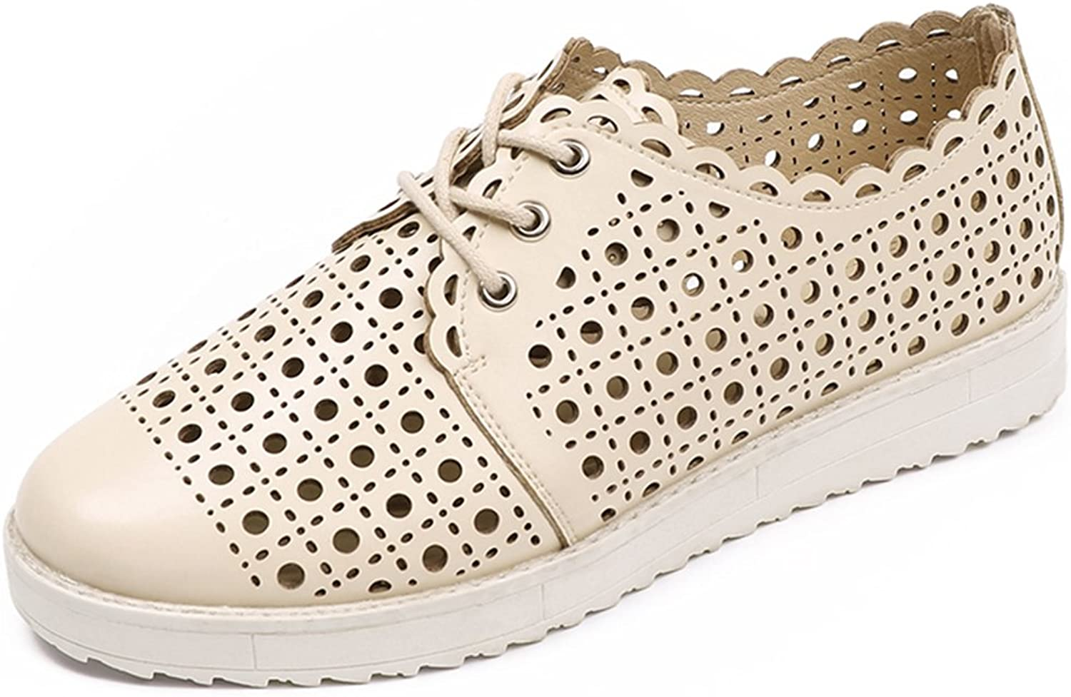 GilesJones Oxford Loafers shoes Women,Casual Moccasins Hollow Lace up Slip-On Flats shoes