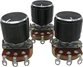 TWTADE / 3pcs wh138 1k ohm Potentiometer Single Turn Rotary Linear Variable Potentiometer +3pcs Black Aluminum Alloy knob
