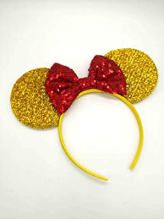 Beauty and the Beast Ears, Belle Ears, Belle Mickey Ears, Disney Inspired Beauty and the Beast Ears, Gold Minnie ears
