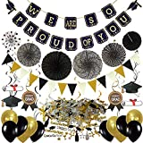 ZERODECO Graduation Decorations, Black and Gold We Are So Proud Of You Banner Paper Pompom Fan Hanging Swirls Graduation Confetti Paper Garland Party Balloons for Grad Party Decoration Supplies