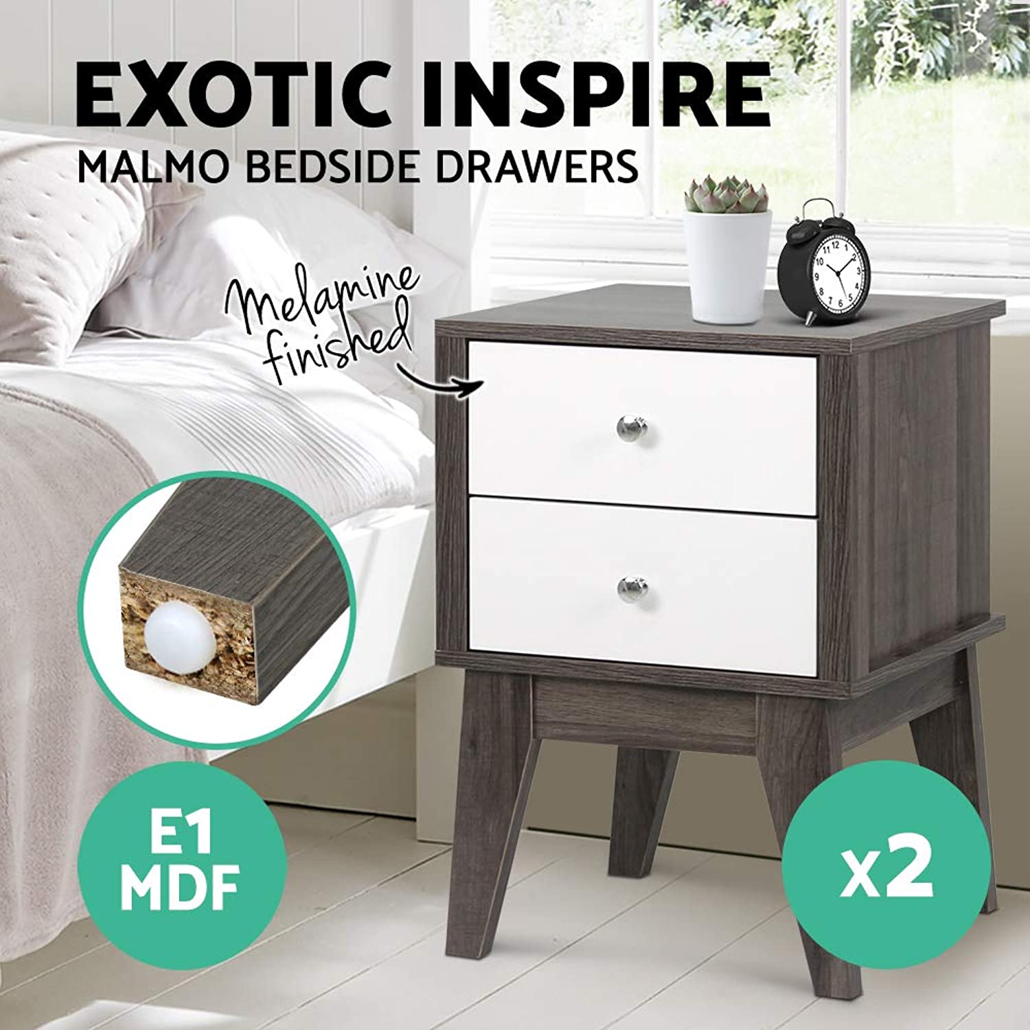2 x Artiss Bedside Tables Wooden Nightstand Sofa Side Cabinets White & Dark Grey