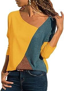 b5a6c4dc1ba9d Yidarton T Shirt Femme Col V Manche Courte Ete Casual Bloc de Couleur Tee  Shirt Top