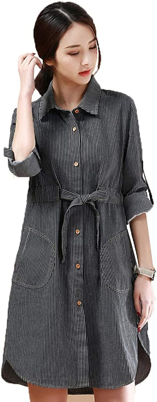 Dress Ladies Dress Striped Denim Skirt Aline Skirt in The Long Shirt Family Party Office Leisure (Size   M)