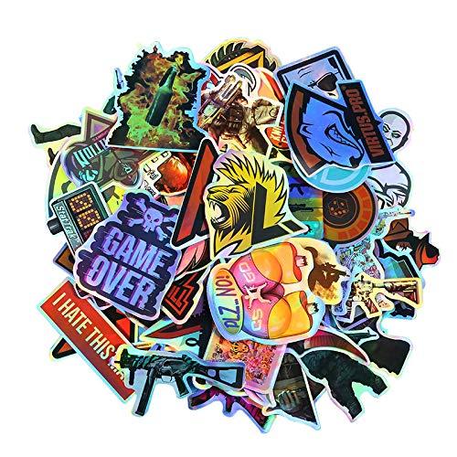 Colorido láser adhesivo reflectante CSgo equipaje etiqueta engomada maleta maleta maleta maleta graffiti pegatinas marea impermeable marca 50PCS
