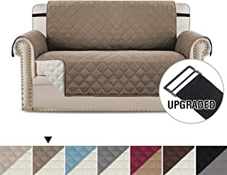 H.VERSAILTEX Loveseat Covers Loveseat Slipcover Reversible Quilted Furniture Protector with Elastic Straps Slip Resistant Furniture Cover for Kids, Dogs, Pets (Loveseat Medium: Taupe/Beige)