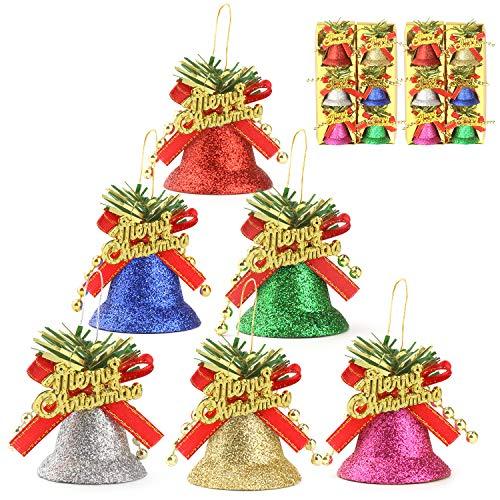 PTN 12Piezas Campana de Navidad, Campana de Decoración de Arboles de Navidad, para Decoración de Arboles de Navidad, Colgante de Campana de Navidad, Fiesta de Decoración Interior y Exterior.