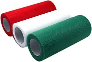 Misscrafts 3 Spools Tulle Netting Ribbons 3 Colors Tulle Fabric Spool 6 Inches 75 Feet per Roll for DIY Wedding Tutu Valentine Decor Red Green White
