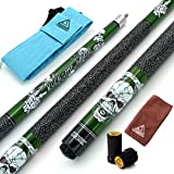 CUESOUL 57 inch 19oz 1/2 Maple Pool Cue Stick Kit- Rock The World Stylish Pattern Cue Design in Green Paint