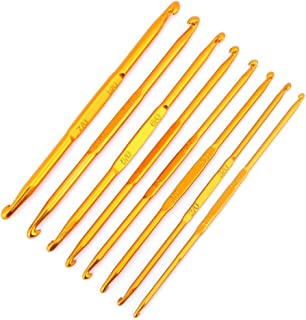 8 Pcs Handle Crochet Hooks Knitting Needle Set, Golden Aluminum Double End Crocheting and Knitting Set Weave Craft