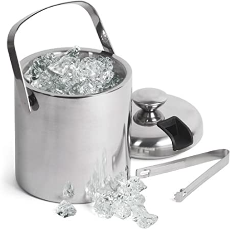 Bonwete Spherical Stainless Steel Ice Bucket with Lid 6.6x7.5 inches