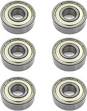 Sydien 6Pcs 6201ZZ Skateboard Bearing 12x32x10mm Double Side Rubber Sealed Deep Groove Ball Bearing