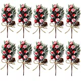 10 Pack Christmas Artificial Berry Pine Cones Branch for Christmas Tree Decoration, DIY Christmas Red Berry Stems Spray for Crafts Wreath Garland Christmas Ornaments Decoration