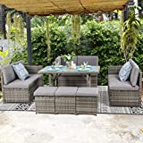 Vongrasig 7 Piece Small Outdoor Sectional Dining Set, All Weather PE Wicker Patio Furniture Conversation Set, Outdoor Sofa Couch w/Glass Dining Table, Wicker Chair, Ottoman Sets and Pillow, Grey