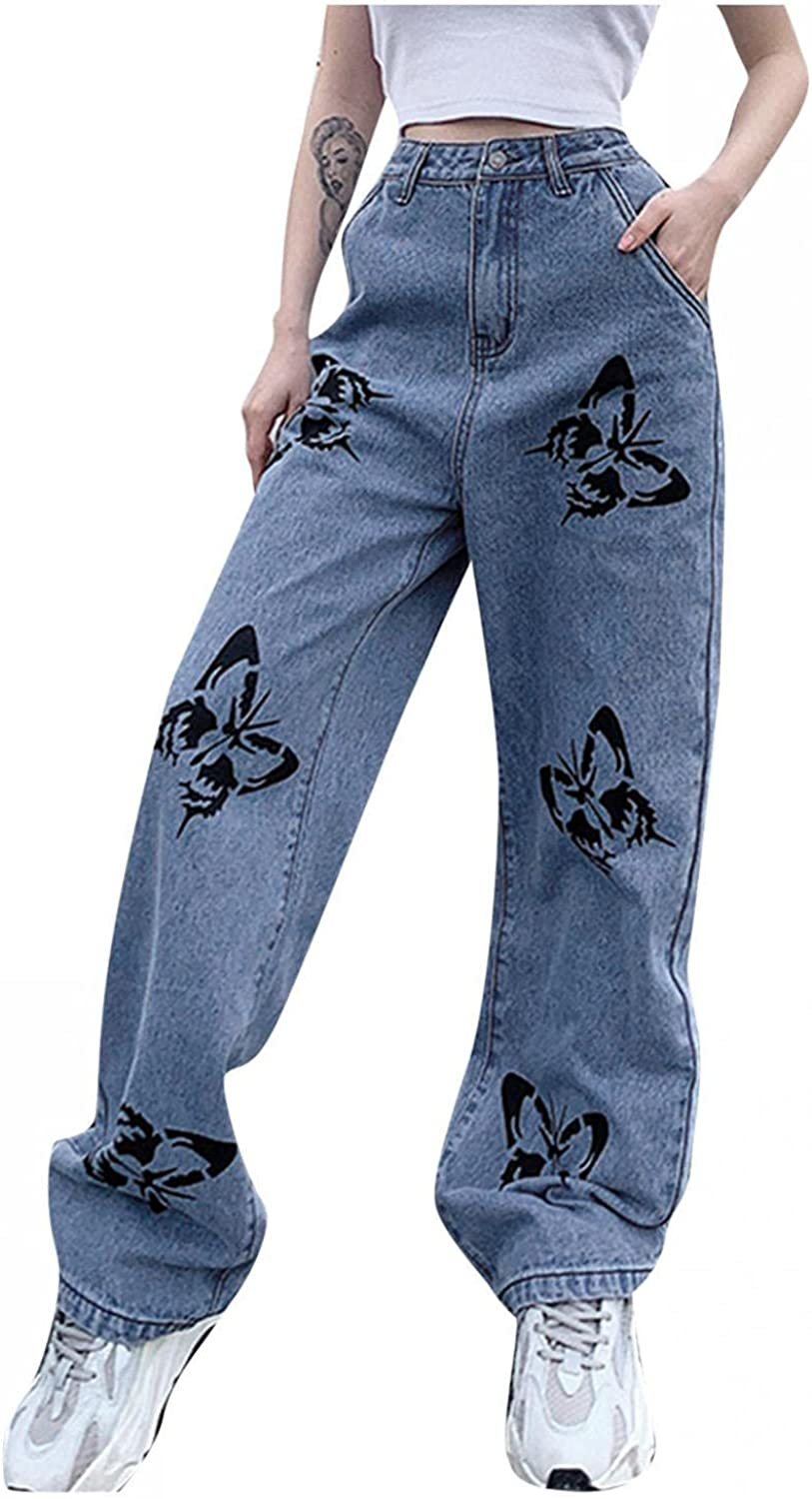 Fudule Fashion Y2K Jeans for Women High Waisted Jeans Vintage Butterfly Printed Denim Pants Casual Wide Leg Baggy Jeans