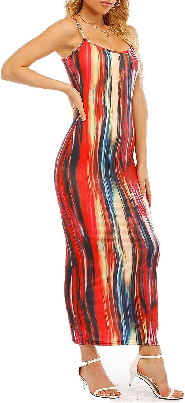 FENGSHAN Hawaiian Dress for Women Fashion Sling Maxi Dress Sleeveless Multicolor Print Casual Long Dress