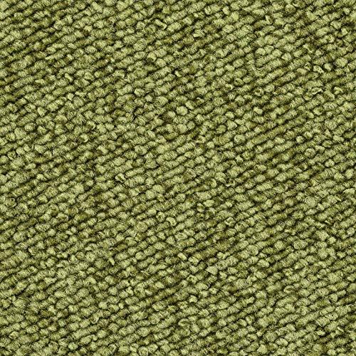 Schlingen-Teppichboden in der Farbe Grün | weiche & strapazierfähige Auslegeware | zugeschnittener Bodenbelag | Meterware in der Größe 125 x 400 cm | gemütlicher Teppich Auslegeware