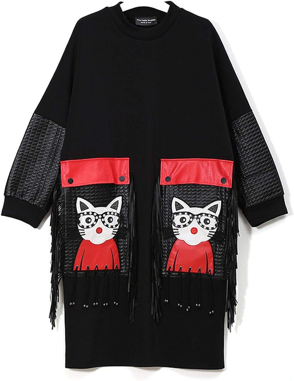 AllAboutUs Women Winter Black Midi Dress Plus Size Large PU Pocket with Tassel Girls Stylish Dress