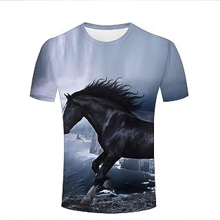 Mens 3D Printed T-Shirts Cool Animal Black Horse Running Novelty Short Sleeve Tees