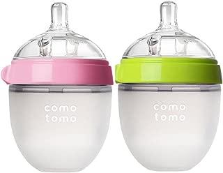 Comotomo Baby Bottle, Green/Pink, 5 Ounce, 2-Count