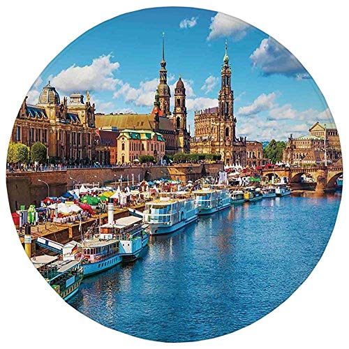 ZMYGH Round Rug Mat Carpet,Wanderlust Decor,Scenic Summer View of The Old Town with Elbe River Embankment in Dresden Germany,Flannel Microfiber Non-Slip Soft Absorbent,for Kitchen Floor Bathroom