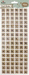 Rayher Cork Scrabble Stickers - Alphabet in Uppercase and Lowercase Letters