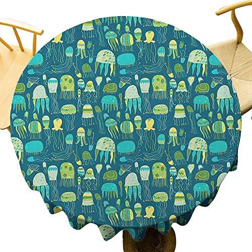VICWOWONE - Mantel de medusas de 100 cm con función de mantel redondo de 40 pulgadas, diseño único, multicolor