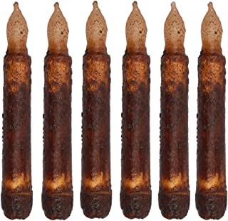 Micandle 6 Pcak Yellow Battery Operated Wax Dipped Real Wax Pillar Flickering Flameless Led Taper Candles for Wedding,Party,Birthday,Halloween Home Decor Primitive Drip Candle Brown