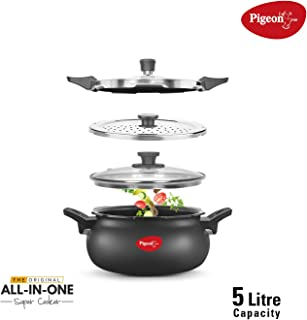 Pigeon by Stovekraft All in One Ceramic Super Cooker, 5 Liters, Black/Transparent