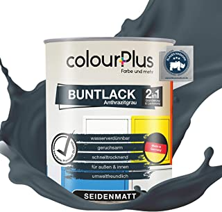 colourPlus 2in1 Buntlack 750ml, RAL 7016 Anthrazitgrau seidenmatter Acryllack - Lack für Kinderspielzeug - Farbe für Holz - Holzfarbe Innen - Made in Germany