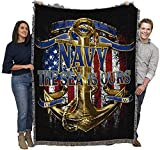US Navy - The Sea is Ours - Cotton Woven Blanket Throw - Made in The USA (72x54)