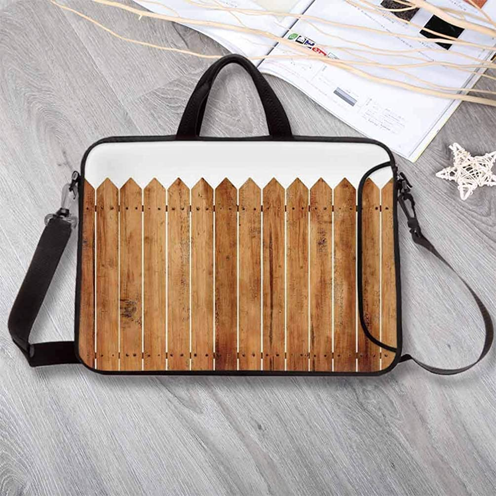 "Farm House Decor Portable Neoprene Laptop Bag,Triangle Edged Timber Border Stripes Siding Woodwork Enclosing Tool Laptop Bag for Travel Office School,8.7""L x 11""W x 0.8""H"
