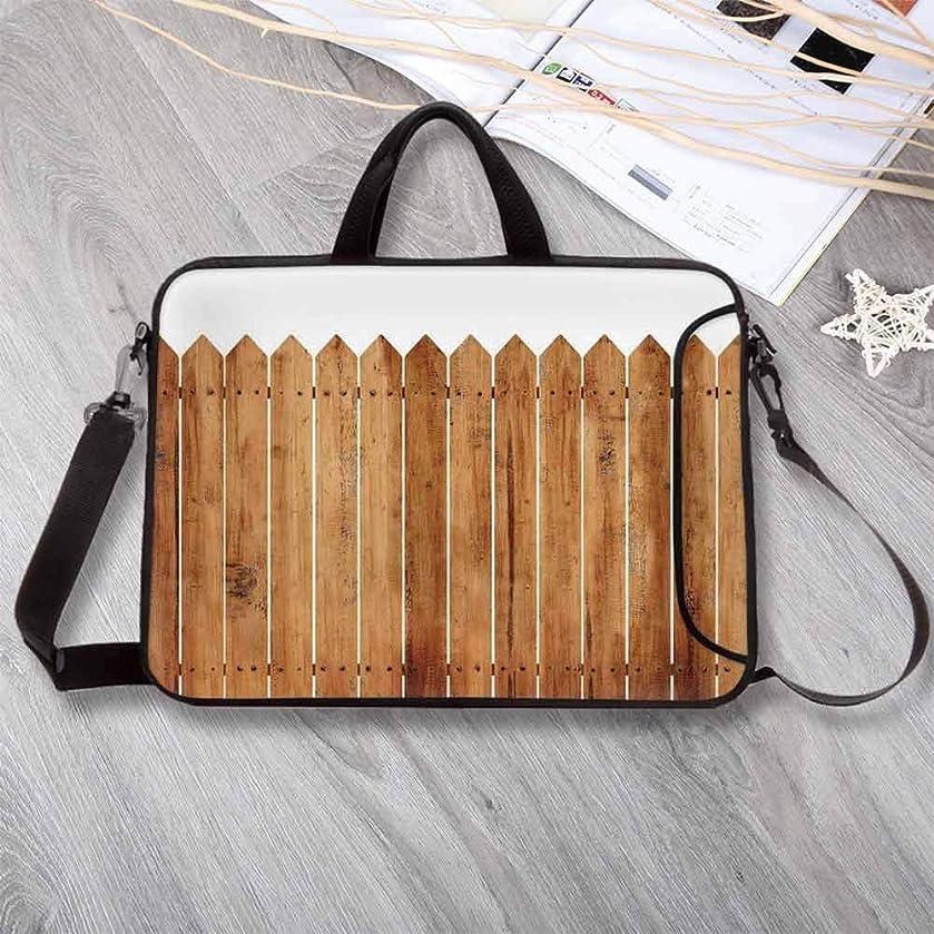 "Farm House Decor Lightweight Neoprene Laptop Bag,Triangle Edged Timber Border Stripes Siding Woodwork Enclosing Tool Laptop Bag for Laptop Tablet PC,8.7""L x 11""W x 0.8""H"