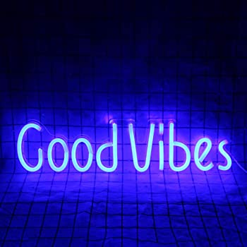 Liqi Good Vibes Only Purple Neon Sign 13 X7 5 Large Real Glass Acrylic Panel Handmade For Home Bedroom Pub Hotel Beach Recreational Game Room Decor Amazon Com