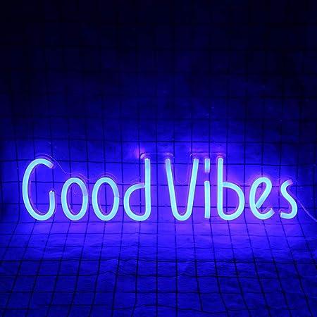 Good Vibes Leuchtreklamen Neonlichter für Raumdekor Licht Schlafzimmer Weihnachten Bar Pub Hotel Party Restaurant Freizeitspielzimmer Wandkunst Dekoration Betrieben von USB (19,6''× 4,9'')